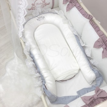 Кокон для новорожденных Маленькая Соня Royal 65*90 см сатин детский пудра арт.506079