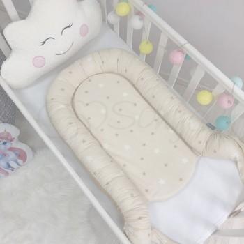 Кокон для новорожденных Маленькая Соня Baby Desing 65*90 см поплин детский Stars Звезды на шоколадном арт.5019374