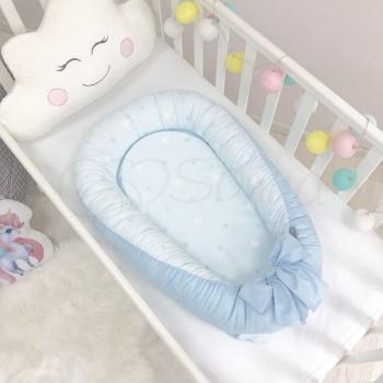 Кокон для новорожденных Маленькая Соня Baby Desing 65*90 см поплин детский Stars Звезды на голубом арт.5019375