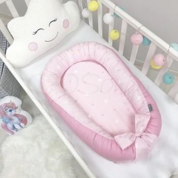 Кокон для новорожденных Маленькая Соня Baby Desing 65*90 см поплин детский Stars Звезды на розовом арт.5019376