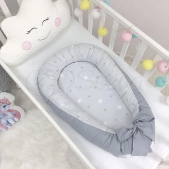 Кокон для новорожденных Маленькая Соня Baby Desing 65*90 см поплин детский Stars Звезды на сером арт.5019377