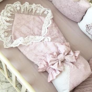 Плед-конверт Маленькая Соня De lux 80*80 см сатин детский пыльная роза арт.1531205