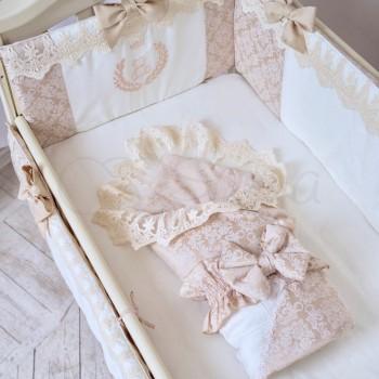 Плед-конверт Маленькая Соня De lux 80*80 см сатин детский бежевый арт.153102