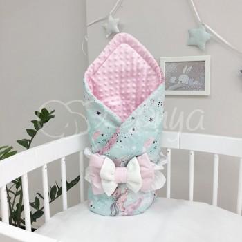 Плед-конверт Маленькая Соня Minky Единорог 80*100 см поплин детский на мятном розовый арт.5400256