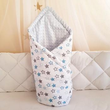 Плед-конверт Маленькая Соня Minky Звезды 80*100 см поплин детский голубой арт.5400257