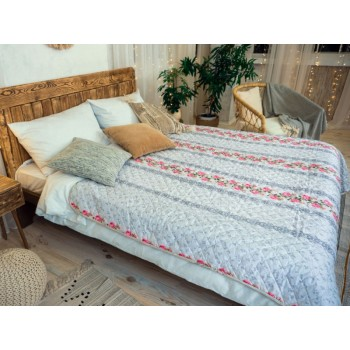 Одеяло-покрывало Leleka-textile двуспальное 172*205 см поликоттон/холлофайбер стеганое летнее П790