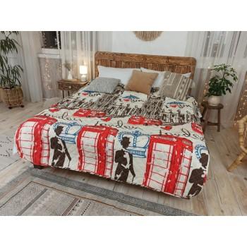 Одеяло-покрывало Leleka-textile двуспальное 172*205 см поликоттон/холлофайбер стеганое летнее П794