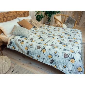Одеяло-покрывало Leleka-textile двуспальное 172*205 см поликоттон/холлофайбер стеганое летнее П807