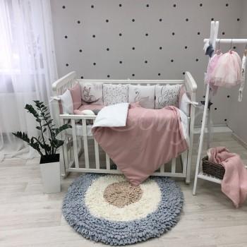 Комплект в кроватку Маленькая соня Арт-Дизайн Олененок поплин стандарт/овал с бортиками 6 предметов детский арт.0239425