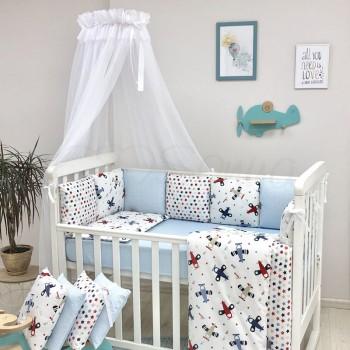 Комплект в кроватку Маленькая соня Baby Аэроплан поплин стандарт/овал с бортиками 7 предметов детский арт.0120208