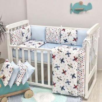 Комплект в кроватку Маленькая соня Baby Аэроплан поплин стандарт/овал с бортиками 6 предметов детский бежевый арт.0220208