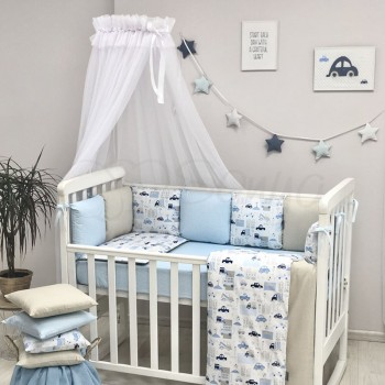 Комплект в кроватку Маленькая соня Baby City поплин стандарт/овал с бортиками 7 предметов детский арт.0120108