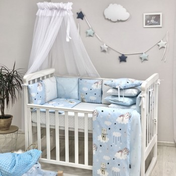 Комплект в кроватку Маленькая соня Baby Коты в облаках поплин стандарт/овал с бортиками 7 предметов детский голубой арт.0120397