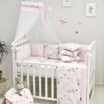 Комплект в кроватку Маленькая соня Baby Коты в облаках поплин стандарт/овал с бортиками 7 предметов детский розовый арт.0120398