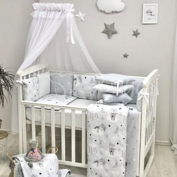 Комплект в кроватку Маленькая соня Baby Коты в облаках поплин стандарт/овал с бортиками 7 предметов детский серый арт.0120399