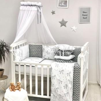 Комплект в кроватку Маленькая соня Baby Единорог поплин стандарт/овал с бортиками 7 предметов детский арт.0120380