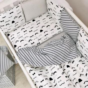 Комплект в кроватку Маленькая соня Baby Усы поплин стандарт/овал с бортиками 6 предметов детский черно-белый арт.0220399