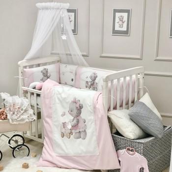 Комплект в кроватку Маленькая соня Kids Toys Мишка поплин стандарт с бортиками 7 предметов детский розовый арт.0169204