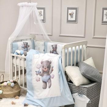 Комплект в кроватку Маленькая соня Kids Toys Мишка поплин стандарт с бортиками 6 предметов детский голубой арт.0269203