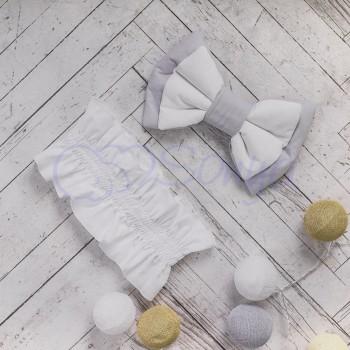 Бант на конверт Маленькая Соня на резинке серый 12*22 см арт.600052