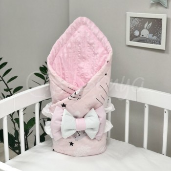 Плед-конверт Маленькая Соня Minky Коты в облаках 80*100 см поплин детский розовый арт.5400418
