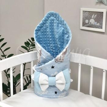 Плед-конверт Маленькая Соня Minky Коты в облаках 80*100 см поплин детский голубой арт.5400417