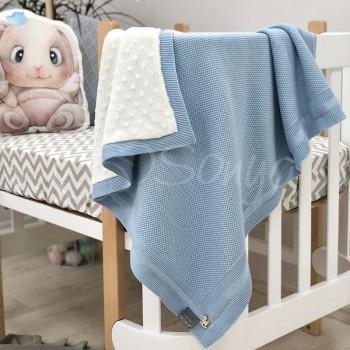 Плед Маленькая Соня WellSoft Рогожка 80*100 см хлопковый вязаный утепленный детский голубой арт.825107