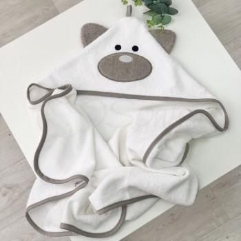 Полотенце-уголок Маленькая Соня Мишка 80*80 см махровое детское молочное арт.9200381