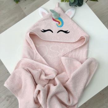 Полотенце-уголок Маленькая Соня Единорог 80*80 см махровое детское розовое арт.9200150
