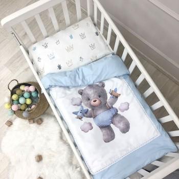 Комплект постельного белья в кроватку Маленькая соня Kids Toys детский поплин стандарт голубой арт.0369203