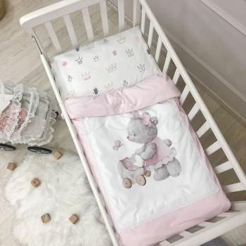 Комплект постельного белья в кроватку Маленькая соня Kids Toys Мишка детский поплин стандарт розовый арт.0369204