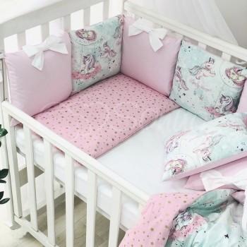 Комплект в кроватку Маленькая соня Shine Единорог поплин стандарт/овал с бортиками 6 предметов детский розовый арт.0247268
