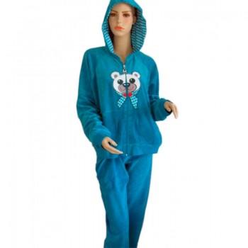 Пижама Arya 13305 женская велюровая с капюшоном р.XL Петроль арт.1351217