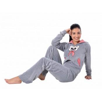 Пижама Arya 13305 женская велюровая с капюшоном р.L Серый арт.1351217