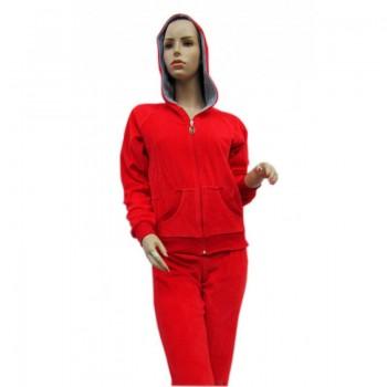 Пижама Arya 13300 женская велюровая с капюшоном р.XL Красная арт.1351182