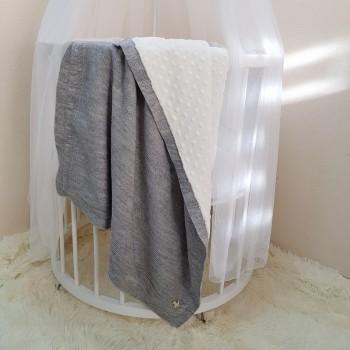 Плед Маленькая Соня WellSoft Рогожка 80*100 см хлопковый вязаный детский серый арт.825152