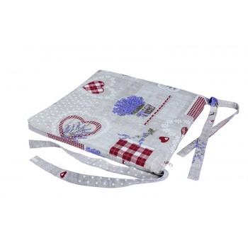 Подушка на табурет LiMaSo Лаванда с красными сердцами 40*40 см хлопковая арт.LCS06.40x40