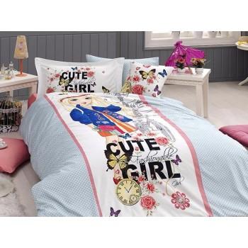Комплект постельного белья First Choice Ranforce Deluxe 3D полуторный ранфорс подростковый арт.Cute Girl