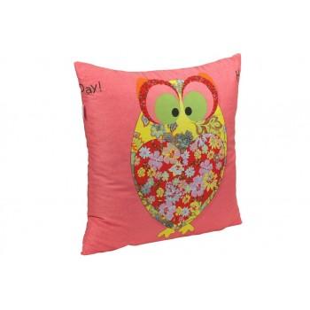 Подушка декоративная Руно Owl Red 50*50 см сатин/силиконовые шарики арт.306_Owl Red