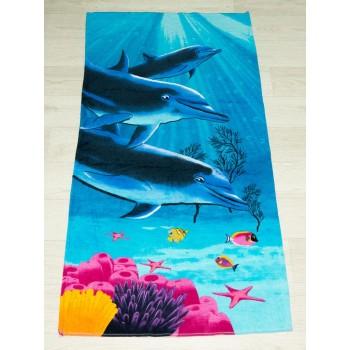 Полотенце пляжное Турция Dolphins coral 75*150 см