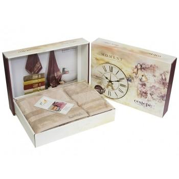Набор полотенец для лица и тела Cestepe Bamboo Soft 50*90 см + 70*140 см бамбуковые банные в коробке Beige Light 2шт