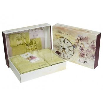 Набор полотенец для лица и тела Cestepe Bamboo Soft 50*90 см + 70*140 см бамбуковые банные в коробке Green Light 2шт