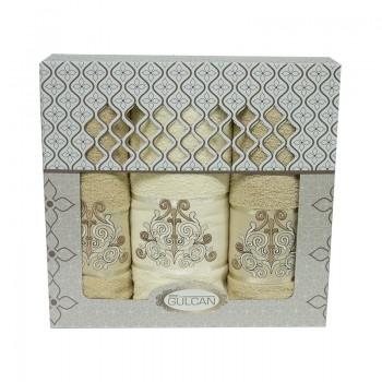 Набор полотенец для лица и тела Gulcan Cotton 2х50*90 см + 70*140 см махровые банные в коробке Venz Bej 3шт