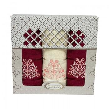 Набор полотенец для лица и тела Gulcan Cotton 2х50*90 см + 70*140 см махровые банные в коробке Venz Bordo 3шт