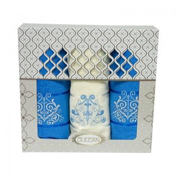 Набор полотенец для лица и тела Gulcan Cotton 2х50*90 см + 70*140 см махровые банные в коробке Venz Blue 3шт