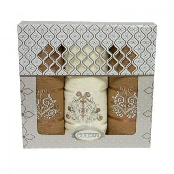 Набор полотенец для лица и тела Gulcan Cotton 2х50*90 см + 70*140 см махровые банные в коробке Venz Kor 3шт