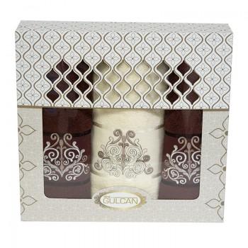 Набор полотенец для лица и тела Gulcan Cotton 2х50*90 см + 70*140 см махровые банные в коробке Venz Dark Brown 3шт