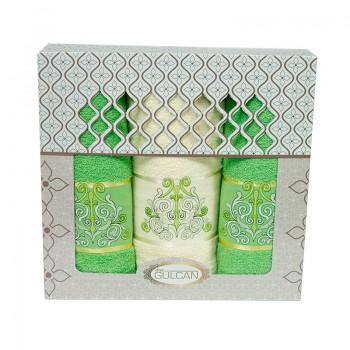 Набор полотенец для лица и тела Gulcan Cotton 2х50*90 см + 70*140 см махровые банные в коробке Venz Dark Zel 3шт