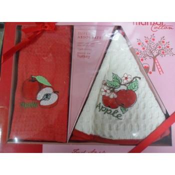 Набор полотенец для кухни Marisol Apple 50*70 см + 50*50 см вафельные в коробке 2шт