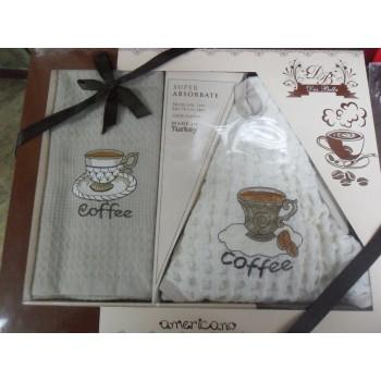 Набор полотенец для кухни Marisol Coffee 50*70 см + 50*50 см вафельные в коробке 2шт